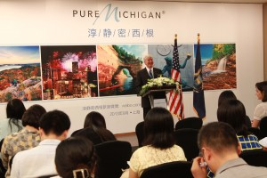 Governor Snyder addressing a Chinese audience during his visit.